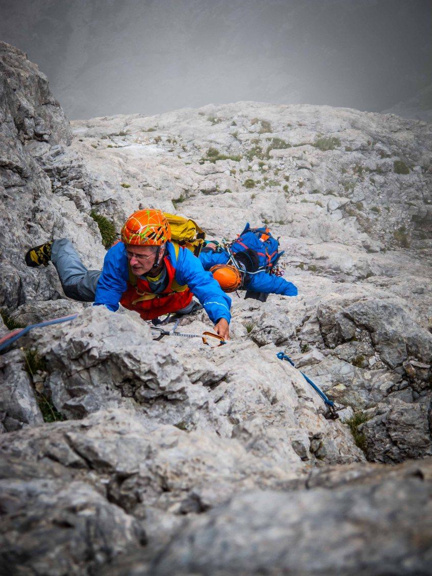 Climbing Aldrich-Faè route, Torre Venezia, Civetta, mountain guide,