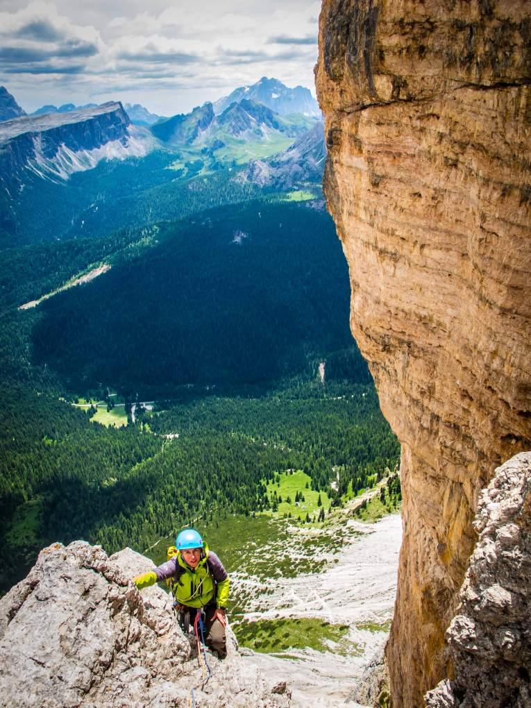 Climbing on Primo Spigolo of Tofana di Rozes