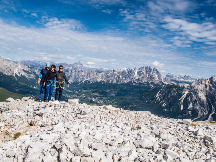 on the summit of becco di mezzodì, view of cortina