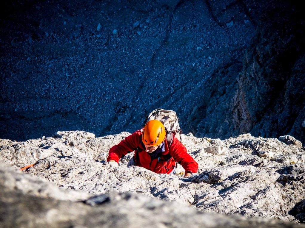 spigolo Dibona route, climbing on cima grande lavaredo