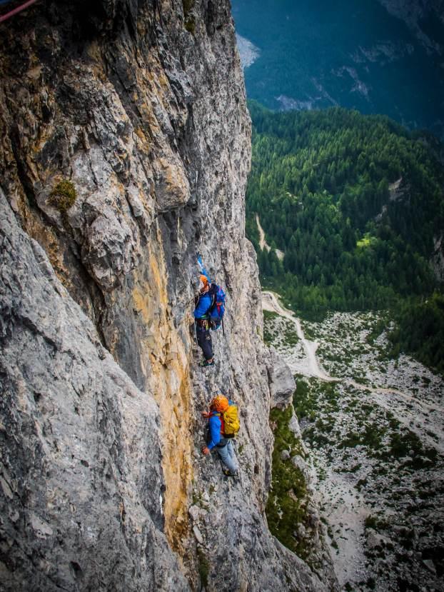 climbing mountain guide on torre venezia andrich-faè route