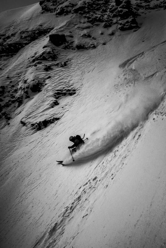 freerider in adriana couloir in cristallo
