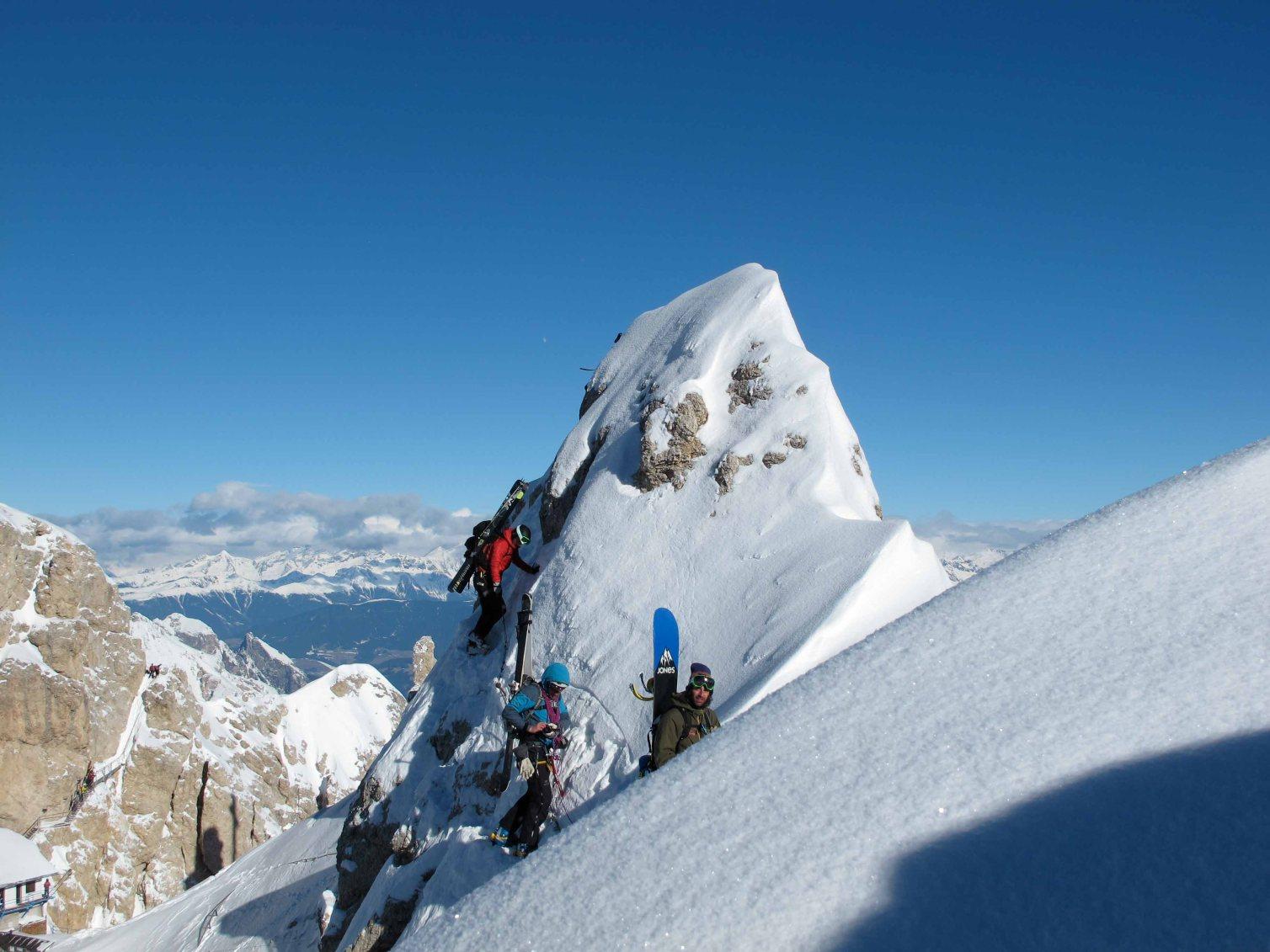 cristallo ridge on the ferrata marino bianchi to reach vallencant couloir