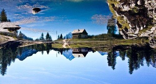 reflections of rifugio croda da lago at lago di federa