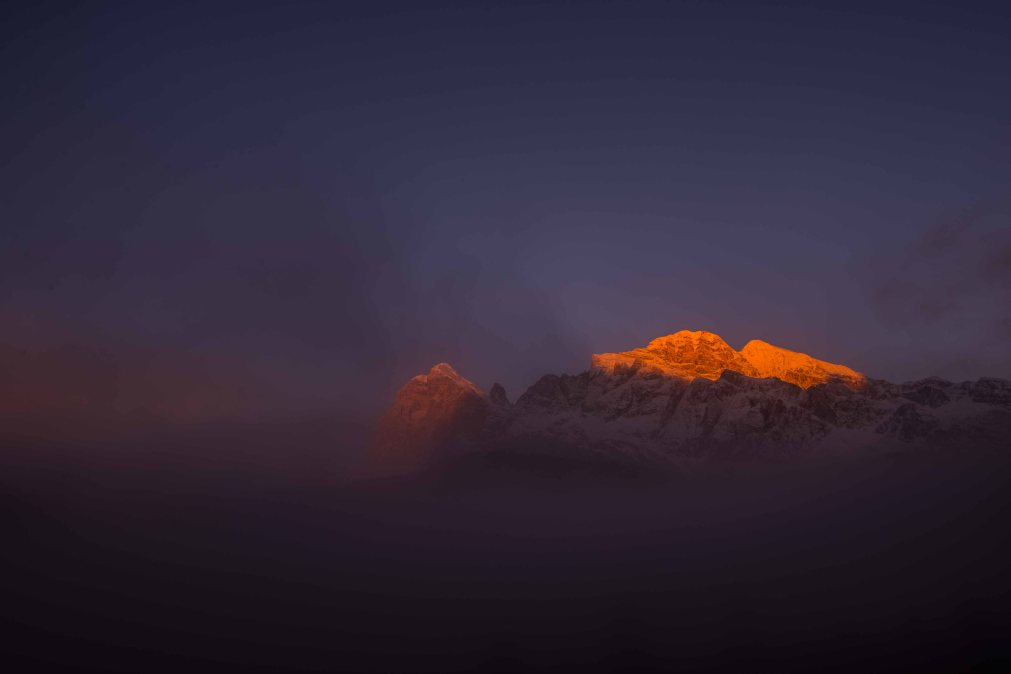 Sunrise on Tofana after a snowfall, winter, cortina