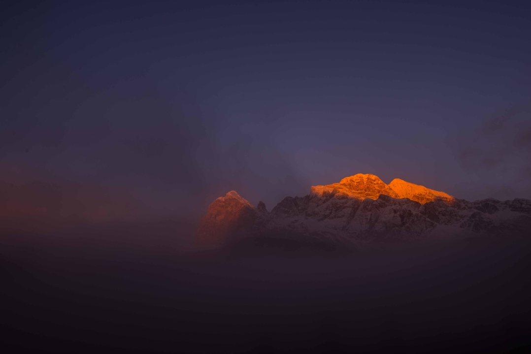 Sunrise on Tofana after a snowfall, winter, cortina