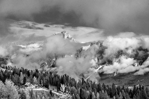 Rifugio Croda da Lago with Croda Rossa in the background, Cortina dolomites