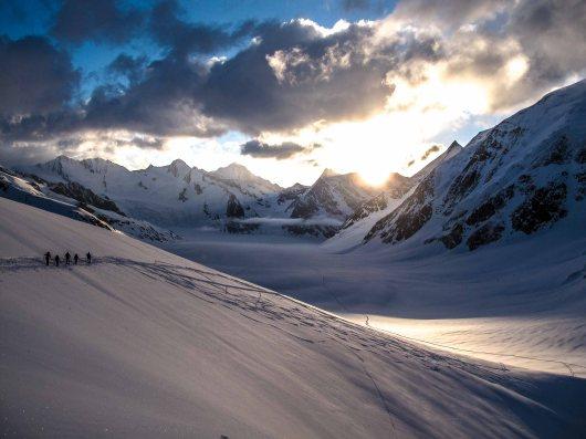 Skittering at sunset in Berner Oberland