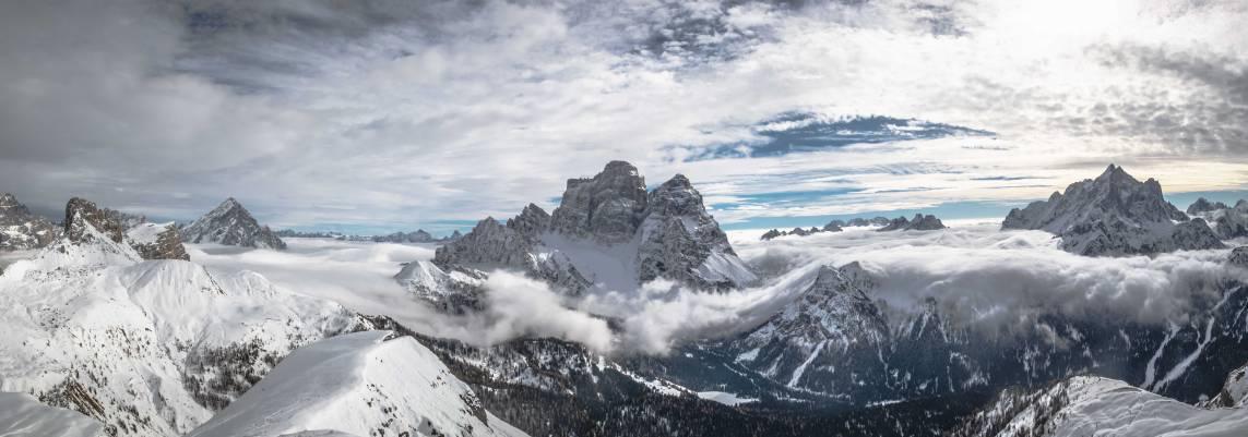 Panorama view from Corvo Alto Mondeval, pelmo antelao civetta