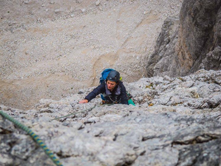 Climbing on Spigolo Dibona on Cima Grande Lavaredo mountain guiding