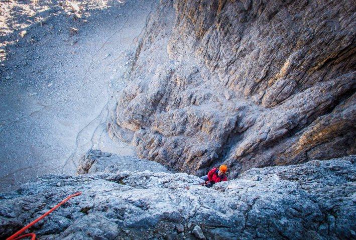 Climbing Dibona route on Cima Grande
