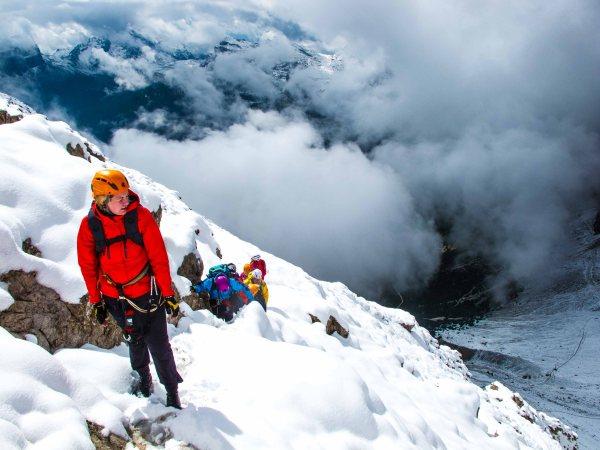 Snow on via ferrata Punta Anna, Tofana guide alpina