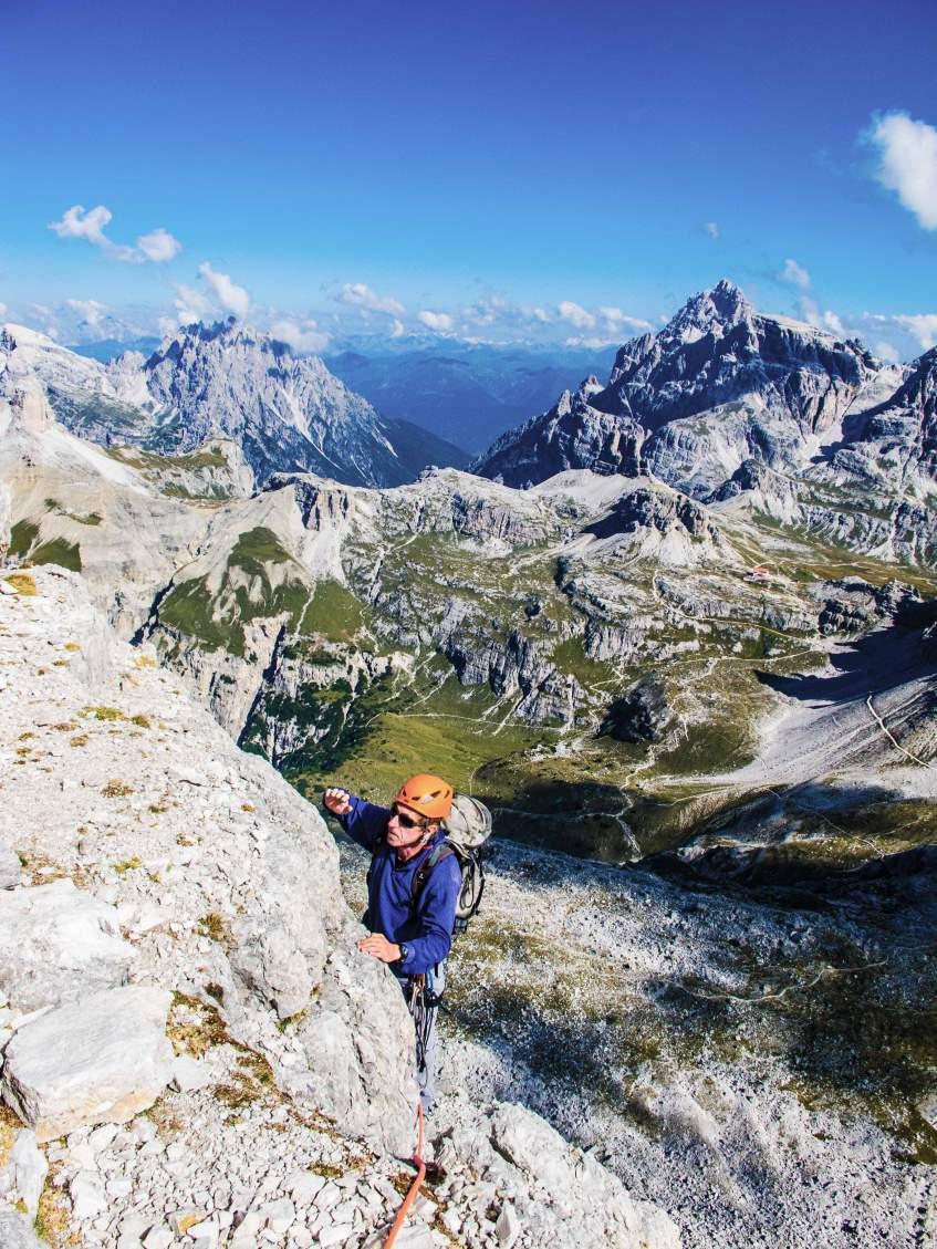 Climbing Spigolo Dibona mountain guide dolomites
