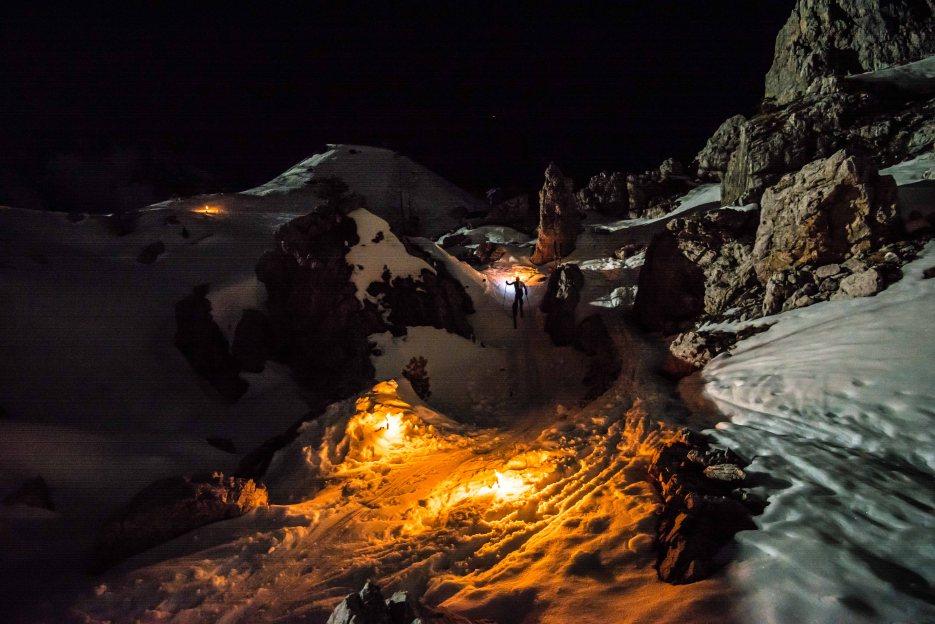 Skialp by night at 5 towers, Cortina Dolomites.