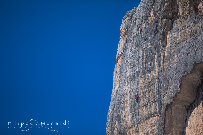 Sportclimbing on Tofana di Rozes, Attenti al Lupo, Mox e Pier. L3, 7b+