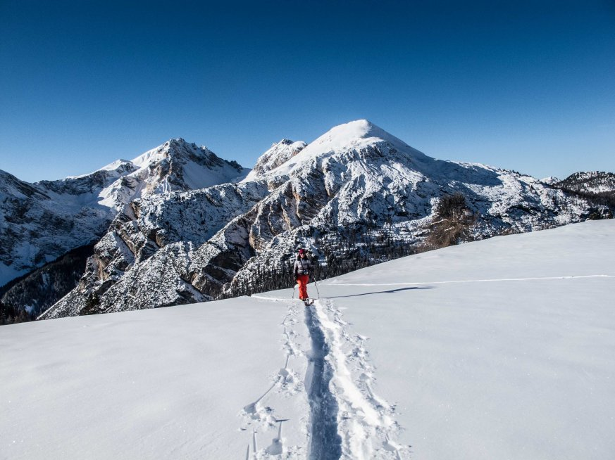 Ski-touring to forcella Lerosa, with Lavinores in the background.