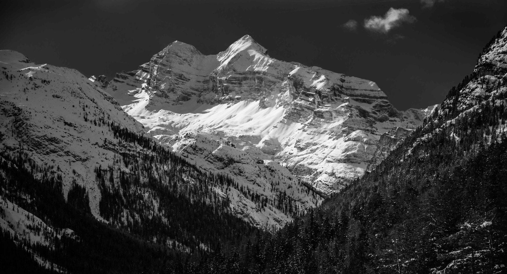 Vista delle Tofane in bianco e nero da Cimabanche.