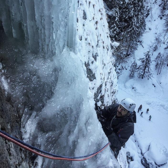 Iceclimbing on La Cascata del Sole in Sottoguda Mountain Guide