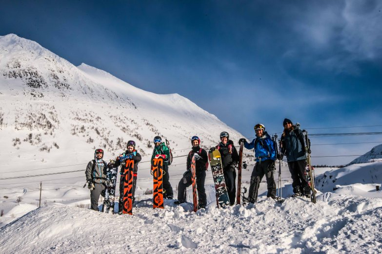 Group picture at the bottom after a great day of skitouring in Lyngen.
