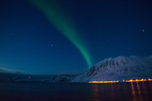 Northern Lights from the boat in Lyngen area.