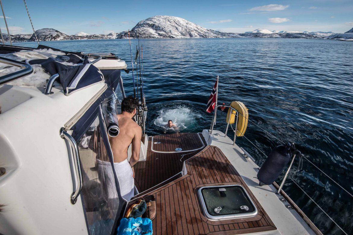 A jump in the water from the catamaran to the cold Norwegian sea.